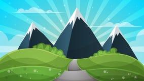 Tecknad filmlandskap - abstrakt illustration Sol stråle, ilsken blick, kulle, moln, berg royaltyfri illustrationer