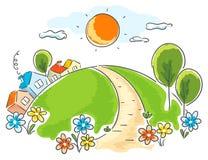 Tecknad filmlandskap med hus, träd och blommor royaltyfri illustrationer