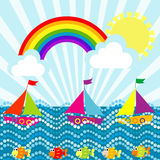 Tecknad filmlandskap med segelbåtar och regnbågen Royaltyfri Bild