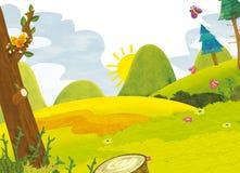 Tecknad filmlandskap - sommar - illustration för barnen vektor illustrationer