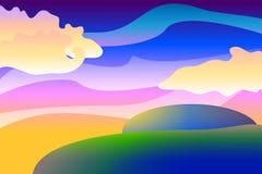 Tecknad filmlandskapbakgrund, färgrik illustration med sfärer och moln, tapeter Royaltyfri Fotografi