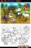 Tecknad filmlantgård- och boskapdjur för att färga stock illustrationer