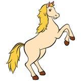 Tecknad filmlantgårddjur för ungar Gulliga härliga hästleenden Arkivbilder