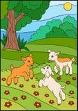 Tecknad filmlantgårddjur för ungar Litet gulligt behandla som ett barn geten på fältet Arkivbild