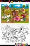 Tecknad filmlantgårddjur för färgläggningbok Arkivbilder