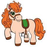 Tecknad filmlantgårddjur för ungar Liten gullig ponny Royaltyfri Fotografi