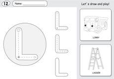 Tecknad filmlastbil och stege Spårande arbetssedel för alfabet: skriva a vektor illustrationer
