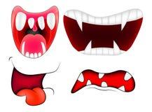 Tecknad filmleendet, munnen, kanter med tänder ställde in vektoringreppsillustration som isoleras på vit bakgrund vektor illustrationer