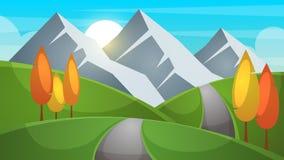 Tecknad filmliggande Berg firr, moln, solillustration stock illustrationer