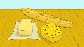 Tecknad filmlivsmedelsprodukter: smör, ost och en släntra Arkivbilder