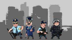 Tecknad filmmän i polislikformig och form av specialförband med vapen Royaltyfri Foto