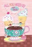 Tecknad filmmakron-, glass- och kakasammanträde på den målade kopp te med blommamodellen royaltyfri illustrationer