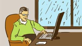Tecknad filmman med glasögon som sitter på skrivbordet nära fönstret och arbete på bärbara datorn Arkivfoton