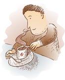 Tecknad filmman med koppen av kaffe Arkivbild