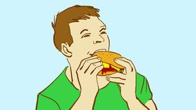 Tecknad filmman som äter sandwithen, headshot Arkivbilder