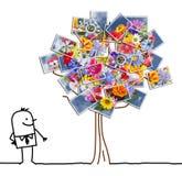 Tecknad filmman som håller ögonen på ett fotografiskt träd för blomning vektor illustrationer
