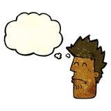 tecknad filmman som känner sig sjuk med tankebubblan Arkivbild