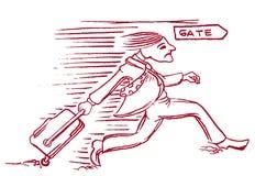Tecknad filmman som kör till flygporten royaltyfri illustrationer