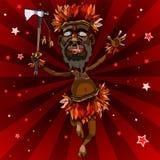 Tecknad filmmannen dansar i en infödd dräkt med en yxa Royaltyfria Bilder