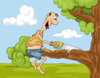 Tecknad filmmannen med såg på trädet stock illustrationer
