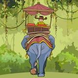 Tecknad filmmannen rider en plats på en elefant Arkivfoto