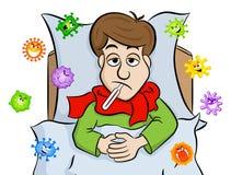 Tecknad filmmannen som ligger i säng med feber och, omges av virus vektor illustrationer