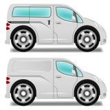 Tecknad filmminibuss och leveransskåpbil Fotografering för Bildbyråer