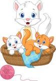 Tecknad filmmoderkatten som spelar med, behandla som ett barn katten Arkivfoton