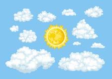 Tecknad filmmoln av den olika former och soluppsättningen Loudy blå himmel för Ð-¡ stock illustrationer