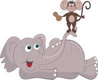 Tecknad filmmus och elefant Royaltyfri Foto