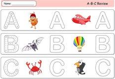 Tecknad filmmyra, flygplan, slagträ, ballong, galande och krabba Alfabettra vektor illustrationer