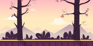 Tecknad filmnaturlandskap med träd, buskar, berg, himmel och moln Sömlös vektorbakgrund för ditt projekt vektor illustrationer