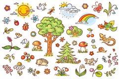 Tecknad filmnaturuppsättning med träd, blommor, bär och små skogdjur Arkivfoton