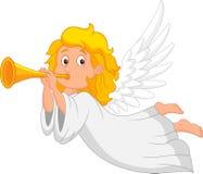 Tecknad filmängel med trumpeten Royaltyfri Bild
