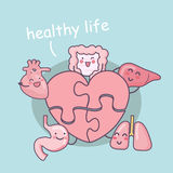 Tecknad filmorgan med förälskelsepusslet stock illustrationer