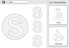 Tecknad filmorm och ubåt Spårande arbetssedel för alfabet: skriva vektor illustrationer