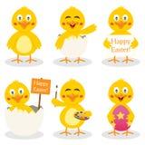 Tecknad filmpåsk gulliga Chick Set stock illustrationer