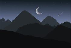 Tecknad filmpanoramautsikt av den berglandskapet och dalen för vinter- eller sommarnatt under mörker - grå himmel med stjärnor, v Arkivfoton