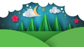 Tecknad filmpapperslandskap Granillustration Måne moln, blomma Royaltyfri Bild
