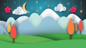 Tecknad filmpapperslandskap Träd blomma, moln, gräs, måne, stjärna stock illustrationer