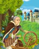 Tecknad filmplats av äldre kvinna med träroteringshjulet skogen nära slott i bakgrunden royaltyfri illustrationer