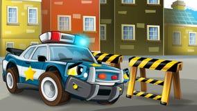 Tecknad filmplats av polisjakten - polisen väntar på barrikaden royaltyfri illustrationer