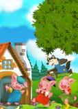 Tecknad filmplats av två rinnande svin till huset av deras broder Fotografering för Bildbyråer