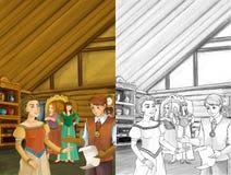 Tecknad filmplats - fostra och två systrar som talar till någon adelsman i rummet av ett gammalt traditionellt hus - härliga mang stock illustrationer