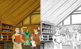 Tecknad filmplats - fostra och två systrar som talar till någon adelsman i rummet av ett gammalt traditionellt hus - härliga mang vektor illustrationer