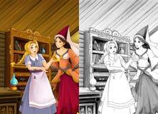 Tecknad filmplats i det gamla traditionella köket - två kvinnor som talar - härlig mangaflicka - med färgläggningsidan - illustra Royaltyfri Bild