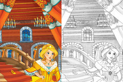 Tecknad filmplats med den härliga prinsessan som kommer ut ur slotten - härlig mangaflicka - med färgläggningsidan stock illustrationer