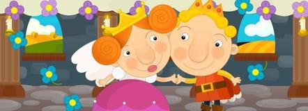 Tecknad filmplats med drottningen och konungen - lyckligt par Arkivfoto