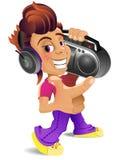 Tecknad filmpojke med boombox Arkivbilder