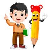 Tecknad filmpojke med en stor blyertspenna vektor illustrationer